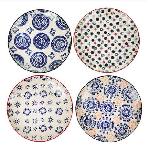 Pols Potten Mosaic Plates : Bring stunning prints to the dinner table with this set of Mosaic plates from Pols Potten. Beautifully hand painted, these ceramic plates feature classic multicoloured mosaic inspired designs. Perfect for adding a pop of colour to any table setting, matching bowls are also available to create a stylish coordinated look.