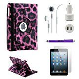 iPad Mini 5-in-1 Accessories Bundle Purple Leopard Rotating Case