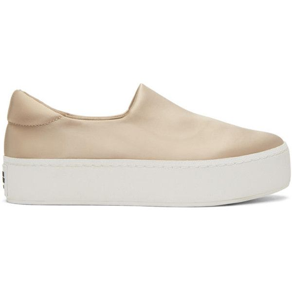 Opening Ceremony Beige Satin Cici Platform Slip-On Sneakers (£175) ❤ liked on Polyvore featuring shoes, sneakers, beige, slip on sneakers, slip-on sneakers, platform slip on shoes, beige shoes and cushioned shoes