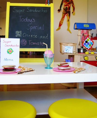 Pretend restaurants - Visit www.GrowingPlay.com for more pretend play ideas