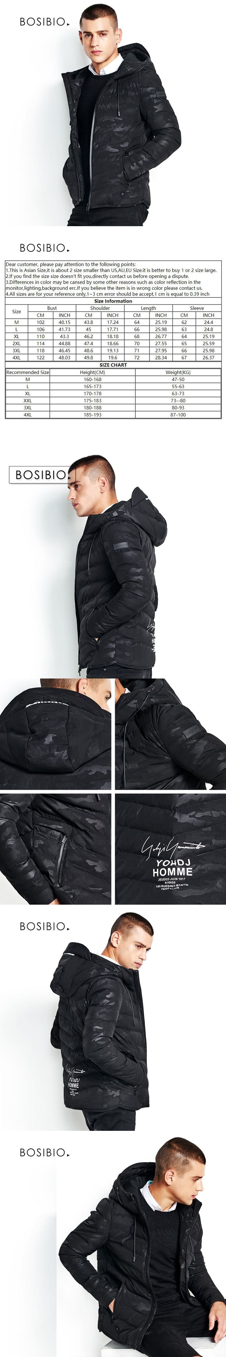 BOSIBIO Mens Fashion Camouflage Coat Male Winter Padded Warm Hooded Jackets Black Thick Slim Fit Parkas Top Quality 66623
