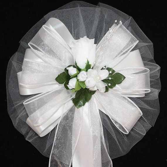 Classic White Rose Bud Wedding Pew Bows by PackagePerfectBows, $7.99