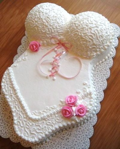 Frilly and feminine lingerie bridal shower cake. See more bridal shower cake ideas at www.one-stop-party-ideas.com
