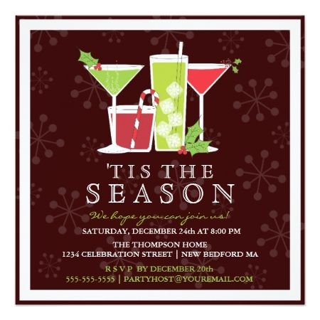 Holly Jolly Christmas Cocktail Party Invitation - tap to personalize and get yours