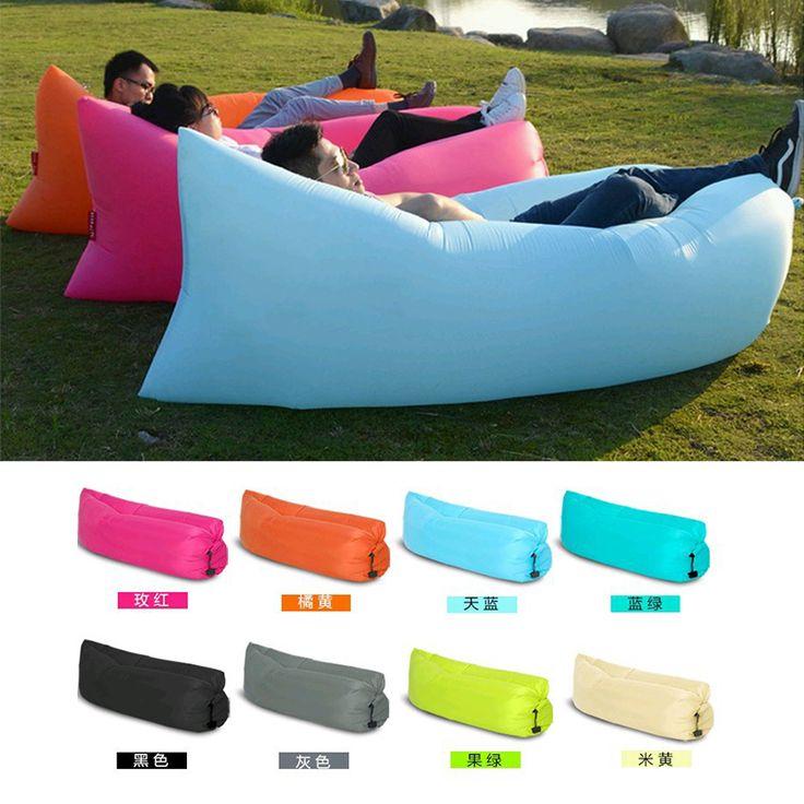 Beach Portable Outdoor Furniture Air Bed Inflatable Hammock Sleeping Bag Camping Air Sofa Nylon Polyester Lazy Bag Environmental