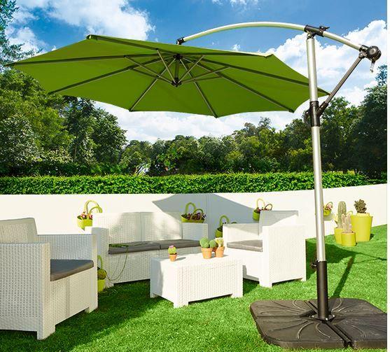 parasoles y sombrillas de brazo o excntricos para evitar el sol directo en el jardn