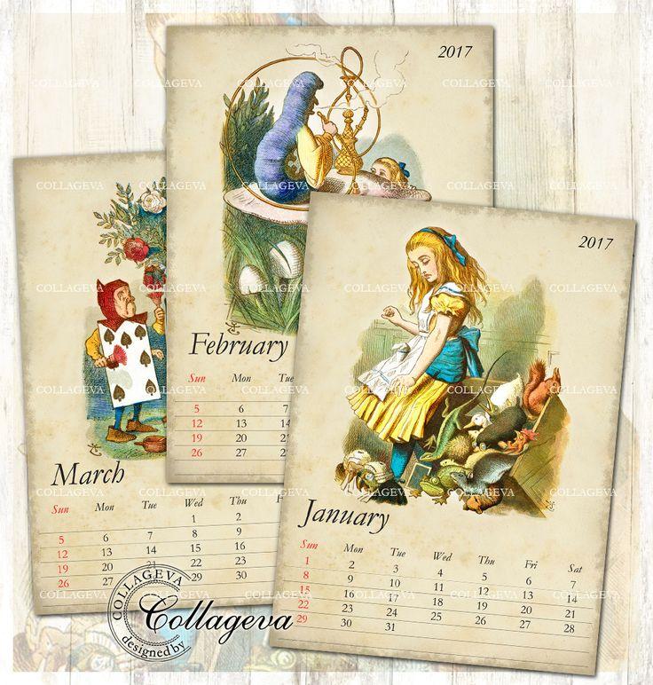 "Alice in Wonderland 2017 Digital Calendar, Printable DIY Monthly Calendar, 5x7"" PDF & JPEG Instant Download Tenniel Vintage Shabby (C004-17) by collageva on Etsy"