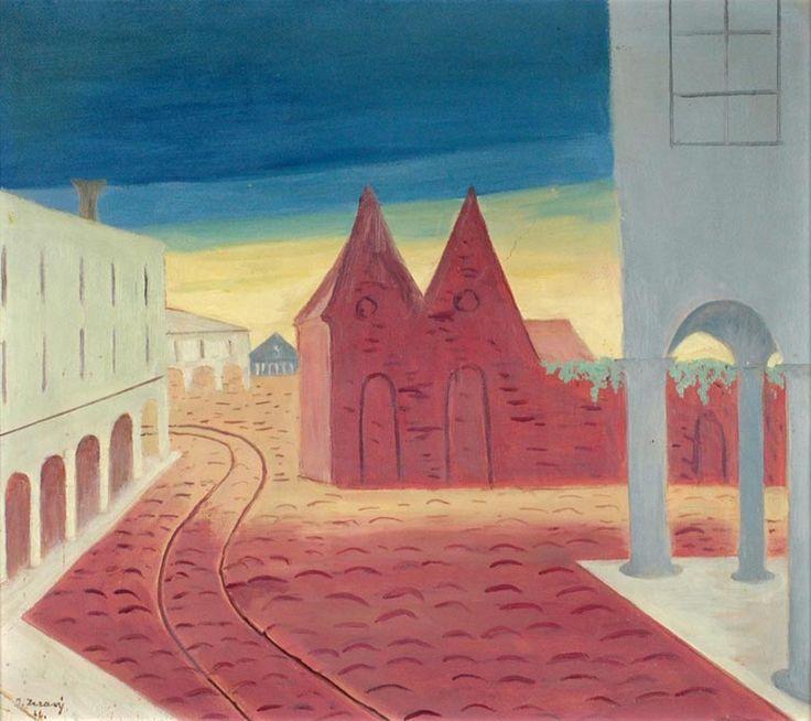 Jan Zrzavý - Padova / Ferara, 1926, oil on cardboard