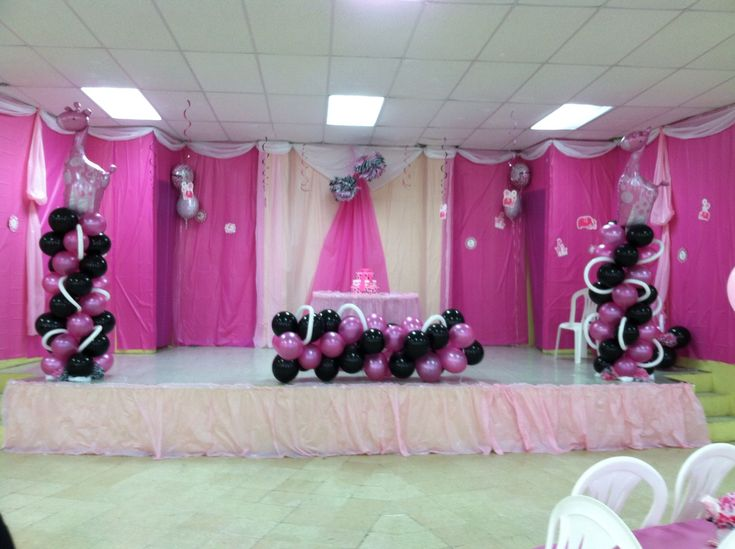 Pink safari baby shower decor party decor ideas for Baby shower hall decoration