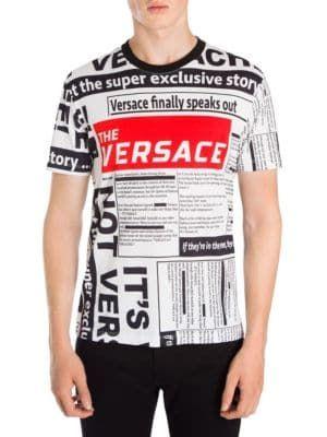 5d62a795a9 VERSACE Newspaper Logo T-Shirt.  versace  cloth