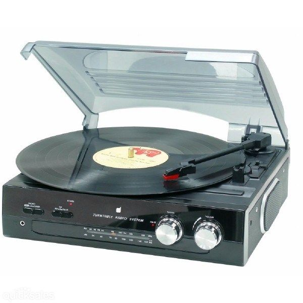 Brand New 33.3 & 45 RPM Record Turntable Stereo FM AM Radio by tech9trading - $80.81