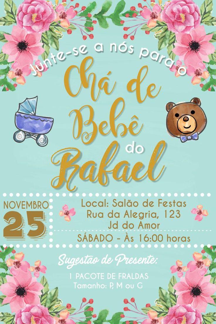 Convite Cha de Bebe Flores Rosa e Turquesa Cha de Fraldas Urso