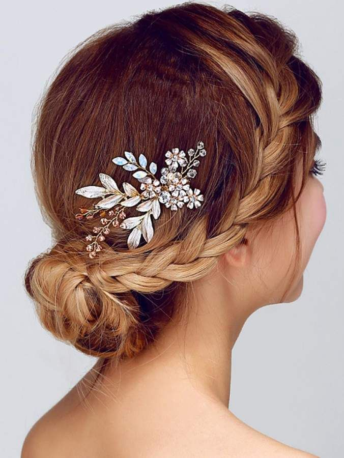 Shein Flower Bridal Hair Comb Flower Shein Bridal Rose Gold Hair Accessories Boho Hair Combs Bohemian Bridal Hair