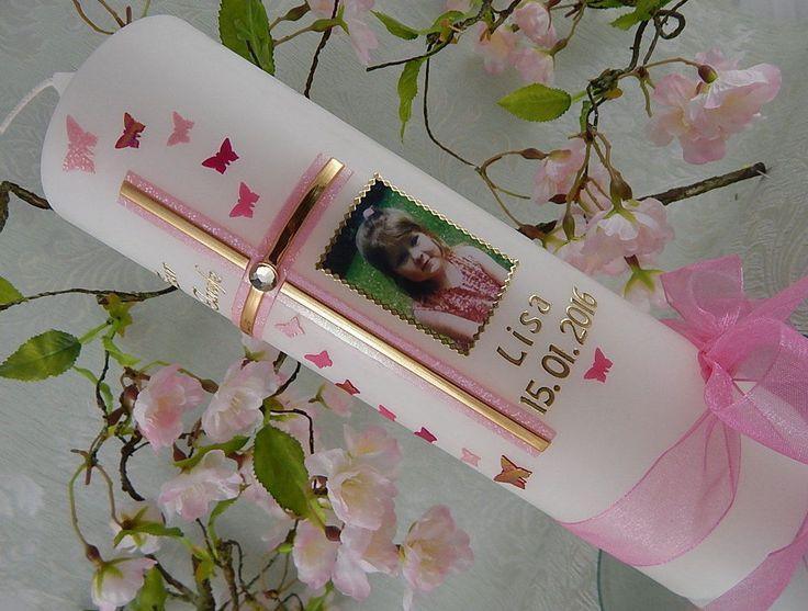 Taufkerze mit Taufspruch oder Foto Name und Datum Kreuz  Mädchen Rosa gold NEU