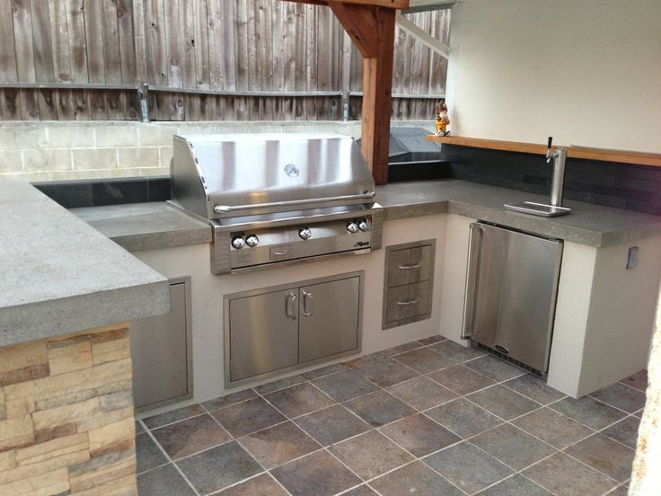 Custom Outdoor Kitchen With Alfresco Grill With Beer Keg Refrigerator