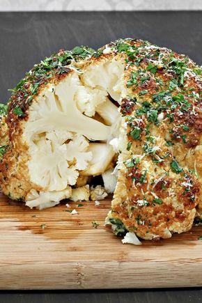Seasoned Whole Roasted Cauliflower Recipe with Dill, Garlic, Lemon Zest, Cumin, and Sea Salt - Vegan, Paleo, Low Carb, Gluten Free, Low Calorie