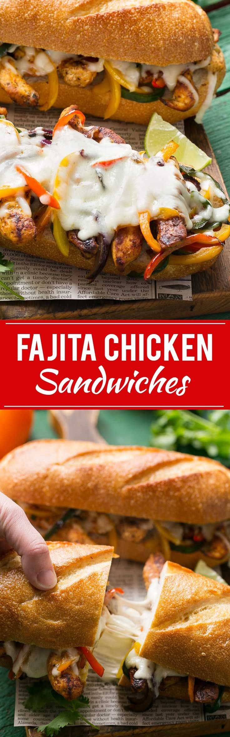 These fajita chicken cheesesteak sandwiches are full of spiced chicken, peppers and lots of cheese, all on a toasted roll.
