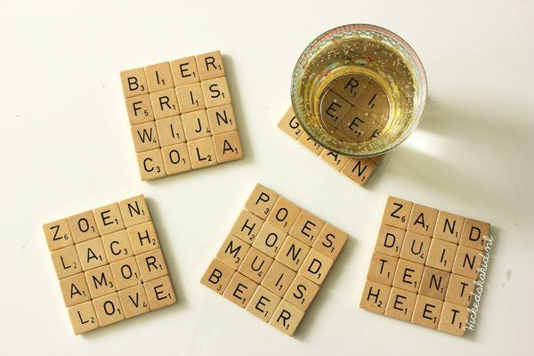 Scrabble coasters - http://www.livingonabudget.nl