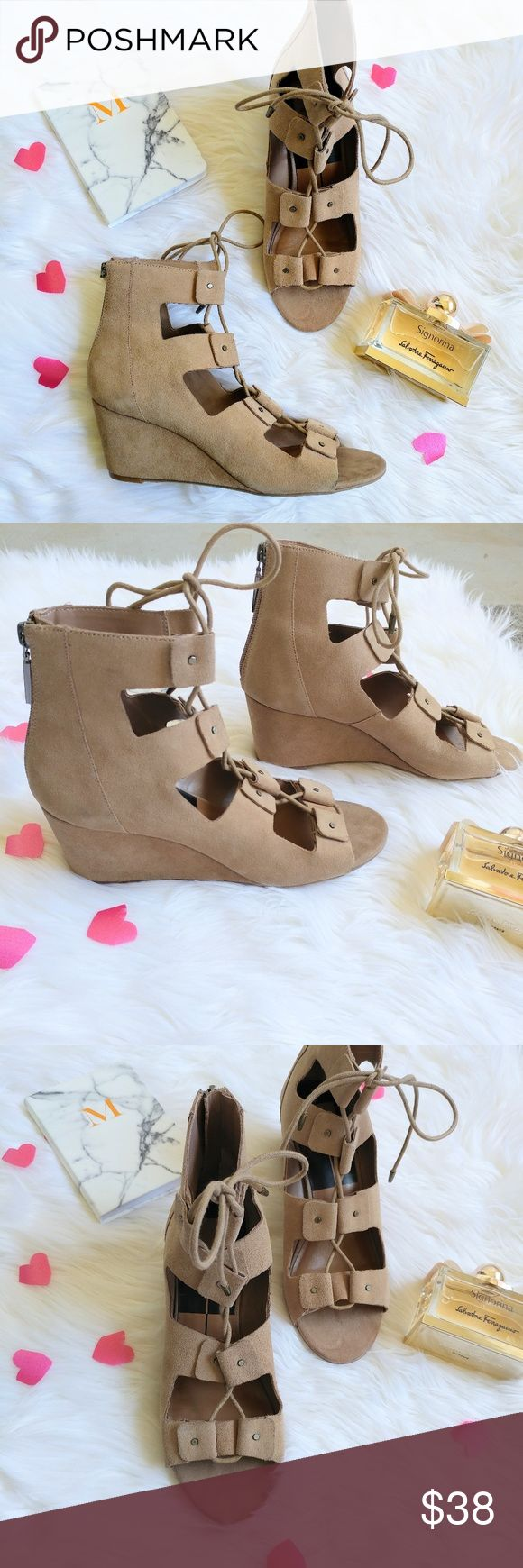 """Dolce Vita Suede Caged Lace Up Wedge Sandal Beige ?Dolce Vita Women's 'Lorena' Suede Lace-up Wedge Sandals  ?Original retail price: $130  ?Plush suede wedge sandals with a ghillie lace-up front.  ?Self-covered wedge heel, 2.25"""" (60mm).  ?Suede upper. Lace-up front. Back zip closure.  ?Man-made lining and sole. Lightly padded insole.  ?Women's Size 8  ?New without box. Never worn (see picture of the bottom sole)  ?No tags attached.   ?Message me if you have any questions. Thanks for stopping…"""