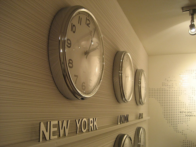 I have a love for clocks that display different time zones.  It helps me day dream of far off places! :-)