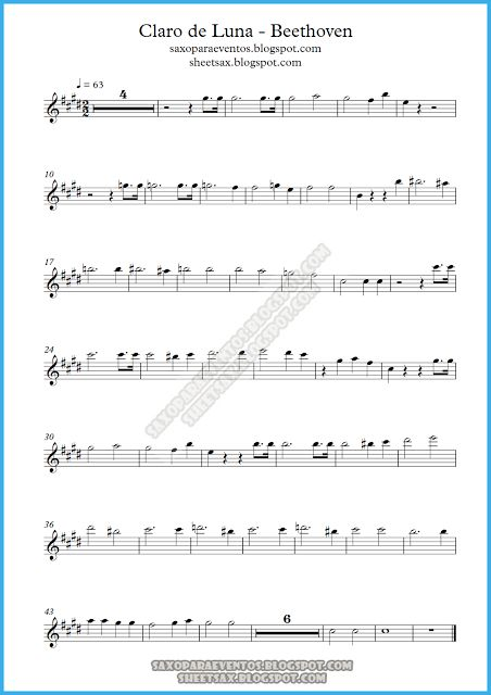 Sheet music of Moonlight Sonata (Piano Sonata No. 14) by Beethoven (Music score free) | Free sheet music for sax
