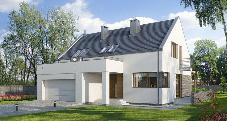 E-102 Nowoczesny dom z garażem dwustanowiskowym - E-DOMY.pl Projekty domów jednorodzinnych, piętrowych, energooszczędnych.