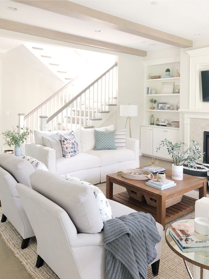 Best Open Concept Living Room Open Staircase Neutral Decor 400 x 300