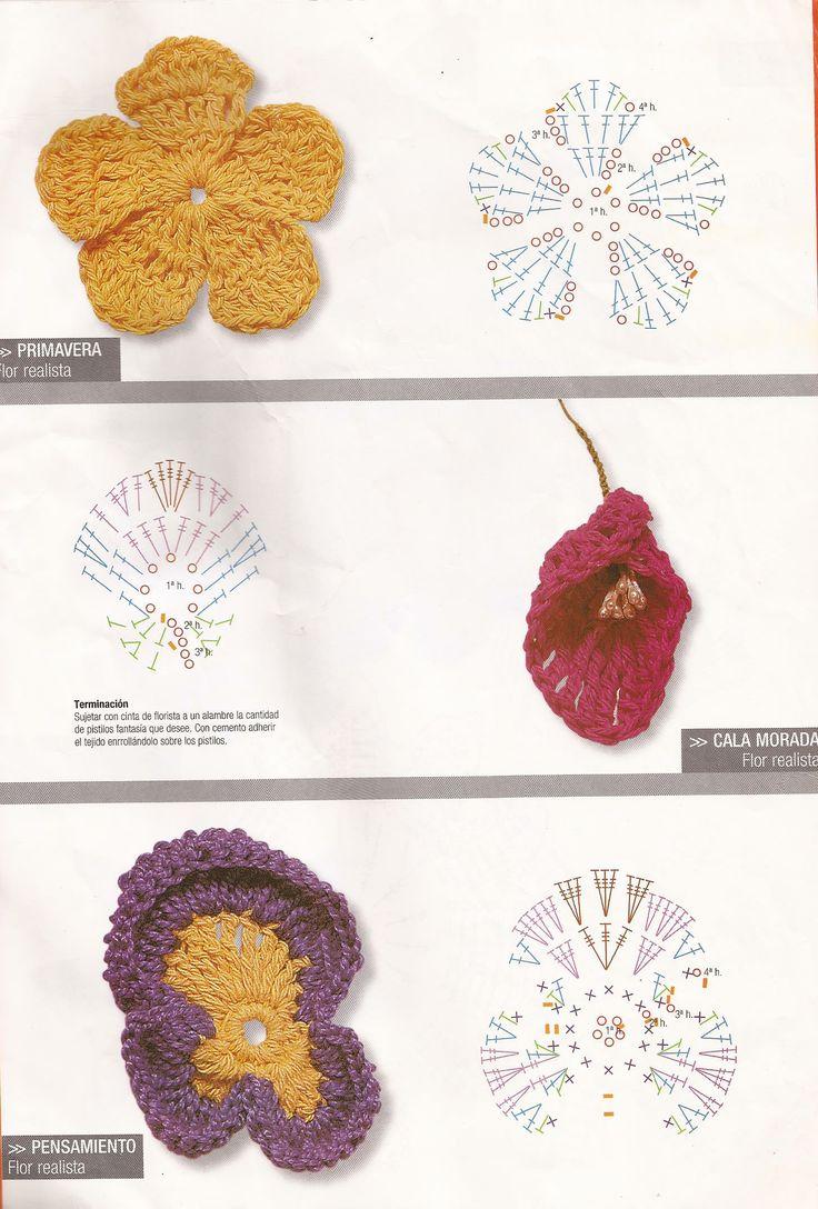 99 best Flores y patron crochet images on Pinterest | Crochet ...