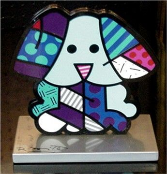"Romero Britto ""Blue Dog"" Aluminum Sculpture 9"""