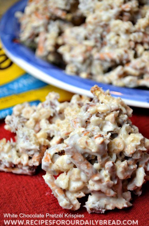 ** White Chocolate Pretzel Krispies Recipe @recipesforourdailybread