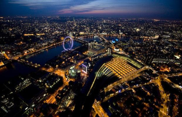 Jason Hawkes specialises in aerial photography. Here is a selection of his   photos of London at night.