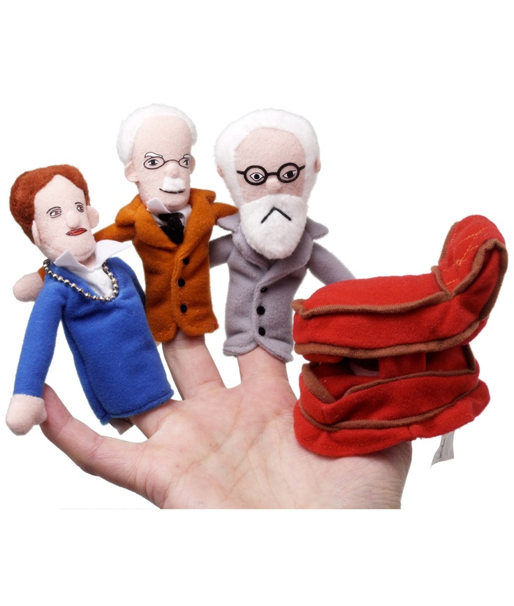 I need these...PSYCHOANALYST PUPPETS    Quirky #Psychoanalyst Finger Puppets Feature Famous Shrinks Carl Jung, Sigmund and Anna Freud