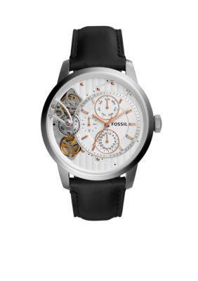 Fossil Men's Men's Stainless Steel Townsman Twist Multifunction Black Leather Watch -  - One Size
