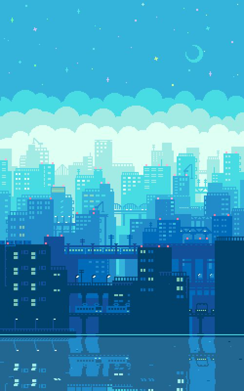 This is a good use of shape as the artist was able to create a city just using little squares, which are pixels.