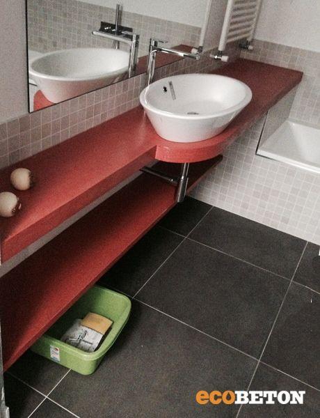 Lavabo rivestito con i prodotti Ecobeton! Top Red
