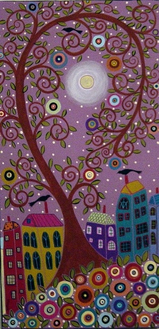 Swirl Tree, Moon, Houses and Birds | Karla Gerard