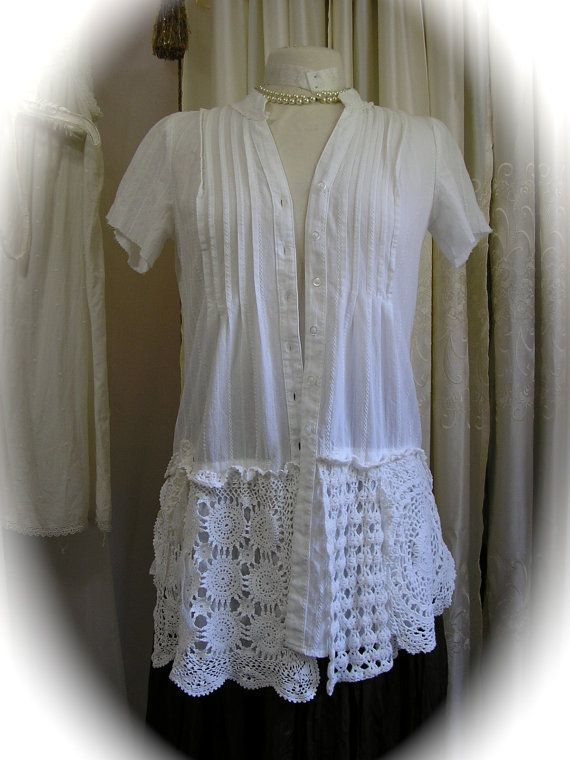 White Doily Blouse, romantic cotton top, refashioned clothing, shabby n chic, layered doilies, altered womens top MEDIUM