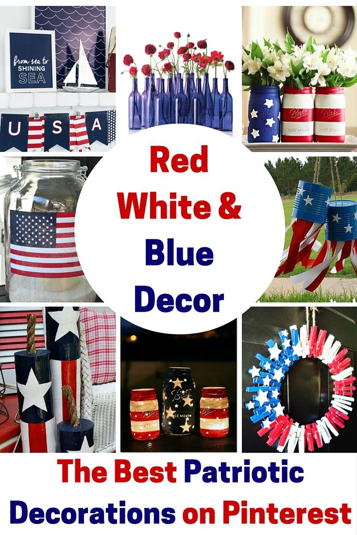 Red White & Blue Decor - getting you all set for Fourth of July, Memorial Day and Labor Day with this super cute DIY decorations!