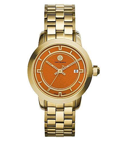 TORY BURCH Trb1006 Gold-Tone/Orange Watch. #toryburch #womens fashion watches