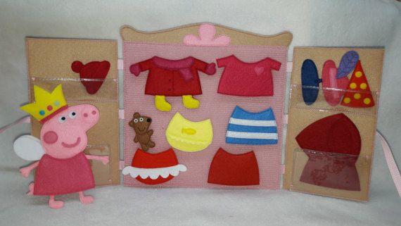 Peppa pig felt clothes dress up dolls quiet toy paper dolls