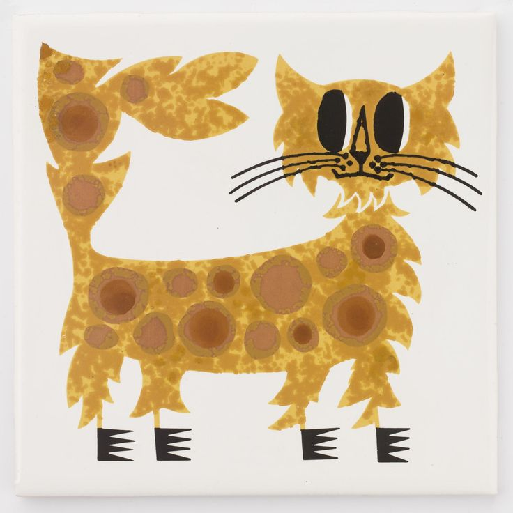 White earthenware tile stencilled and painted in enamel colours with a cat: English, Newton Abbot, by Candy and Co. Ltd, decorated at Hastings by Kenneth Townsend, 1966