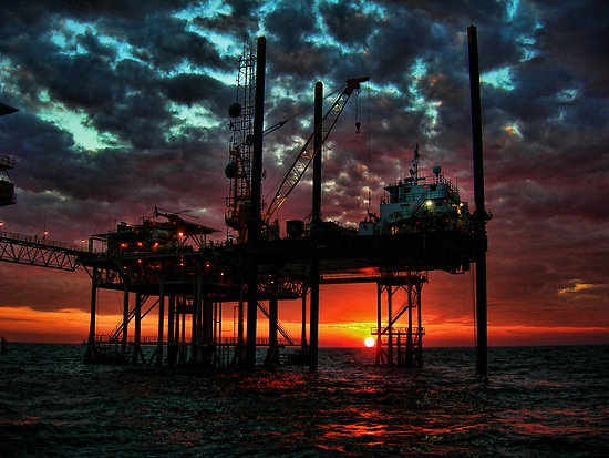 Oilfield Awakening by Michael Reimann This is a beautuful picture!!! This is what Kirk does! Works on a rig out in the ocean!