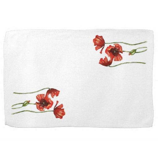 Red Poppy Floral Design Kitchen Towels
