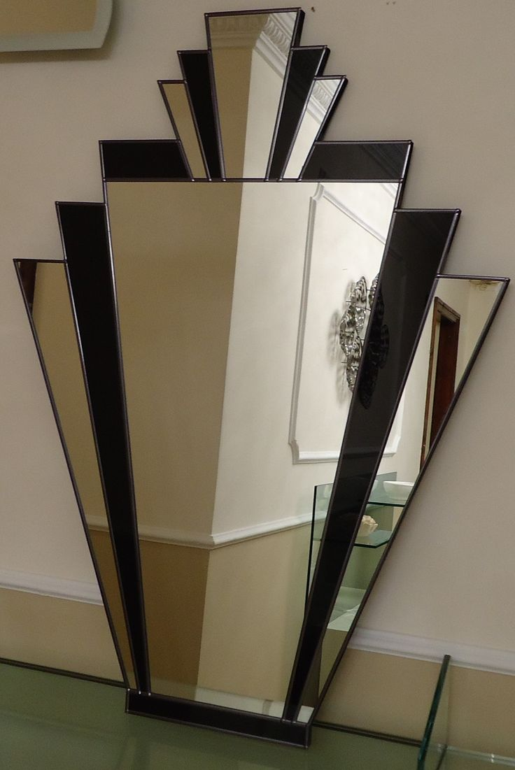 ART DECO MIRRORS | Black and Silver Art Deco Mirror on Backing Board