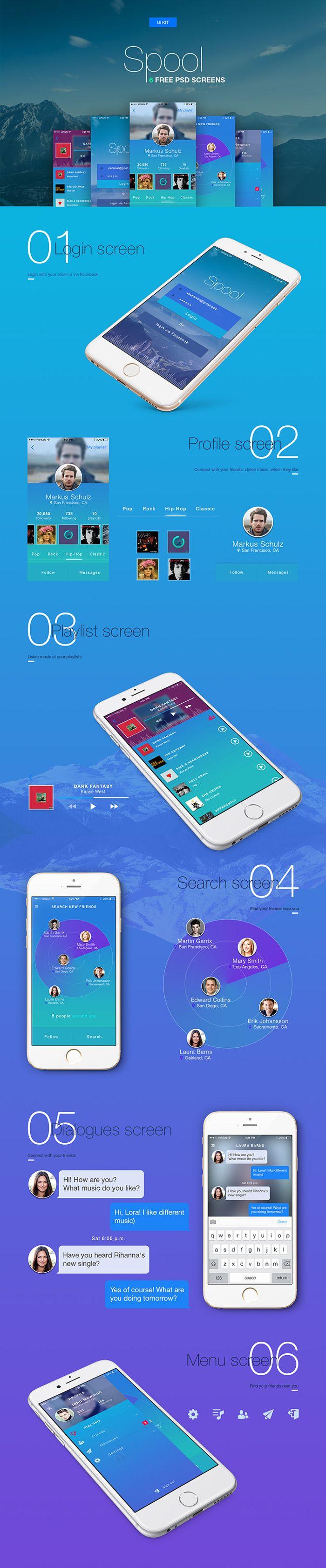 Spool: Free 6 Screens Mobile UI Templates by Sergey Malnik