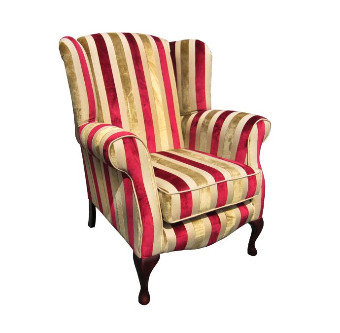 Queen Anne Chair in red and gold stripe fabric. Visit our website to view this chair in various fabrics. www.drumbristonfurniture.ie