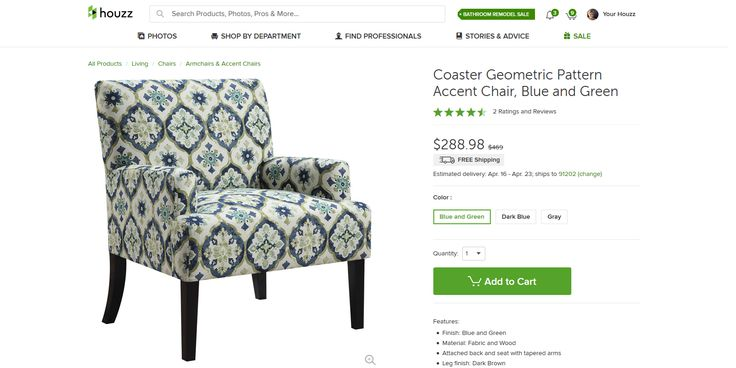 Coaster Geometric Pattern Accent Chair, Blue and Green - Mediterranean - Armchairs And Accent Chairs - by u Buy Furniture, Inc