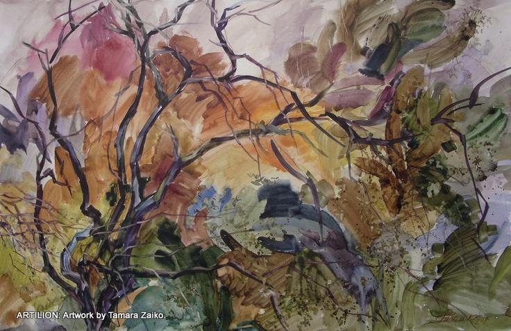 "Painting by Tamara Zaiko.""BURNING"" APPLETREE. Paper, watercolor. Subject: #art #artist #artwork #watercolor #painting #landscape #autumn #trees #forest #foliage #fall fall leaf. Пейзаж от Тамара Заико. ""ПЫЛАЮЩАЯ"" ЯБЛОНЯ. Бумага, акварель. Темы: #живопись #осень #листопад золотая осень."