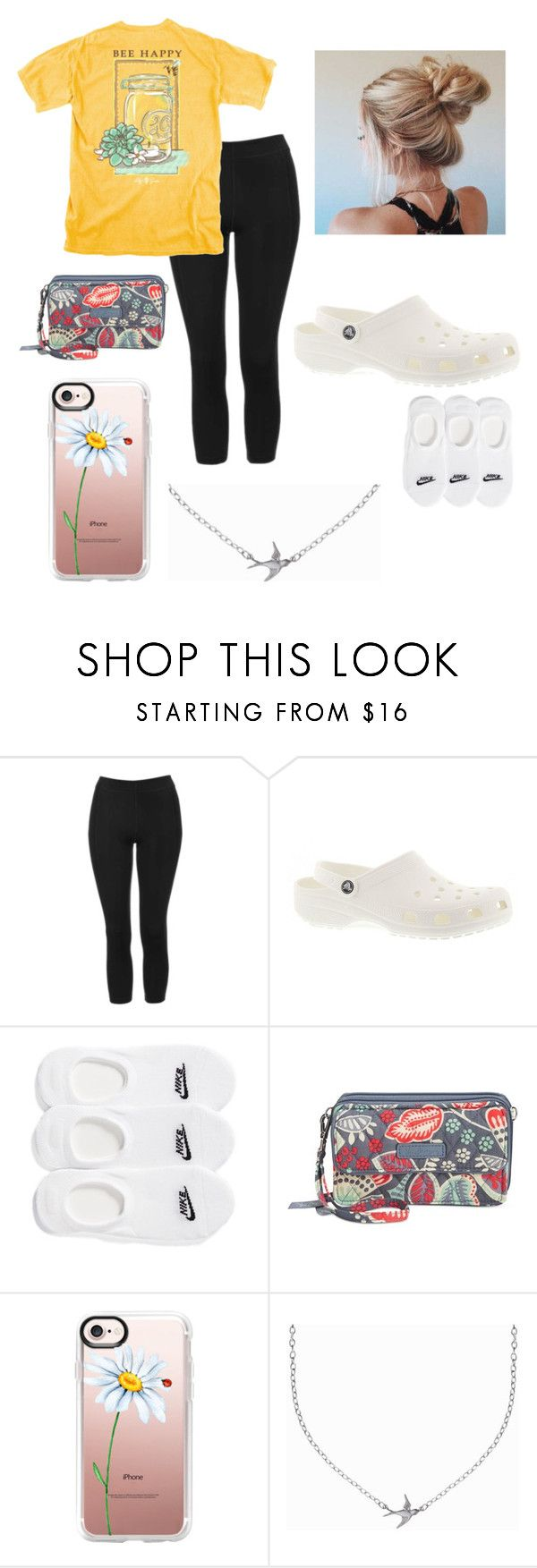 """""""I love and want that shirt"""" by geneviev-rauch ❤ liked on Polyvore featuring Topshop, Crocs, NIKE, Vera Bradley, Casetify and Minnie Grace"""