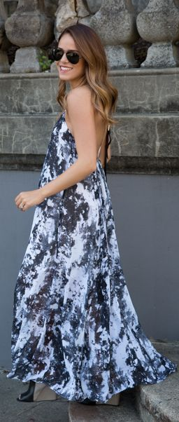 Asos Black And White Marble Print Backless Maxi Dress by Gal Meets Glam